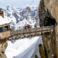 Walking over the bridge on the l'Aiguille du Midi