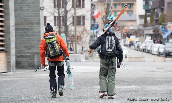 Skiers taking a stroll in Chamonix, France