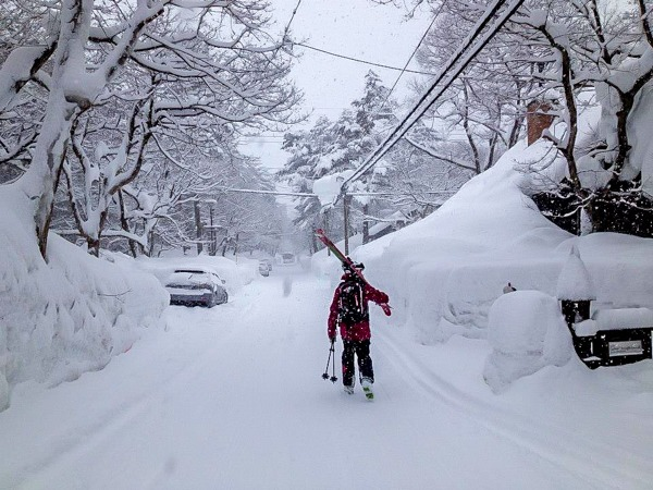 Just keeps snowing in Japan. Walking Home After a Long Day of Skiing Japanese Powder