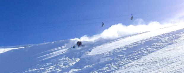 LGA Guide & Owner Jeff Robertson skiing deep powder on our 2016 Tour in Engelberg Switzerland