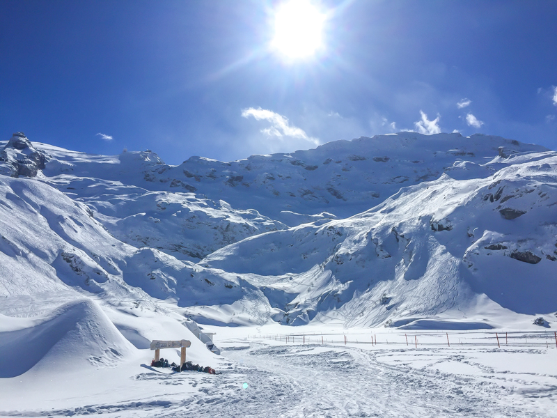 Looking back up at Mount Titlis, The Steinberg Glacier and the backcountry of Engelberg